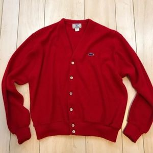 Vintage Lacoste Red Alligator Cardigan Sweater